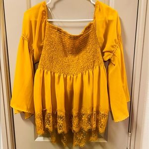 NEW Off the Shoulders Mustard Blouse